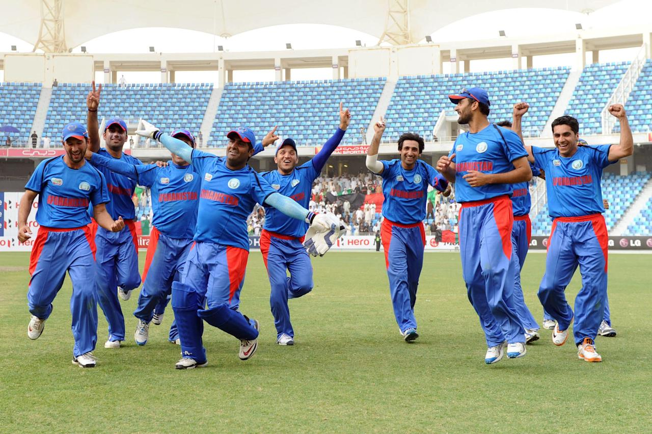 Afghanistan ensured they will appear at the ICC World Twenty20 for the second consecutive time with a 47-run win over Namibia in Dubai on 22 March 2012. Afghanistan's fast-medium bowler Dawlat Zadran had dream figures of 3.1-1-5-3 as Namibia was bundled out for 99 in 18.1 overs.