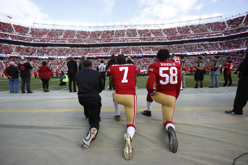 In the K-9 demonstration last year in Florida, dogs attacked a man wearing a Colin Kaepernick jersey who joked about the former quarterback's protests. (Michael Zagaris/San Francisco 49ers/Getty Images)