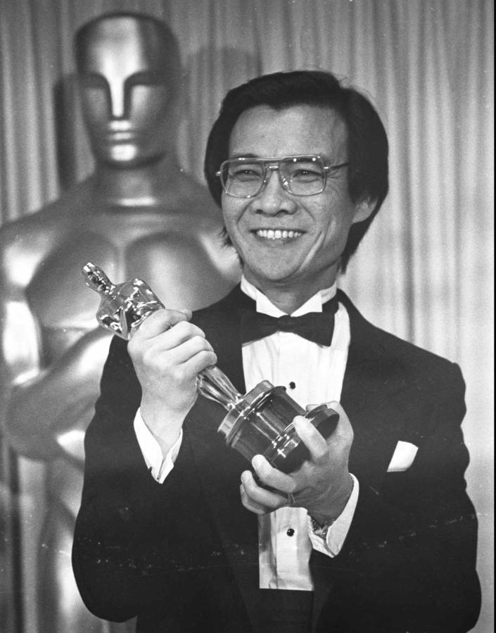 "FILE - Haing S. Ngor, winner of the best supporting actor Oscar for his role in ""The Killing Fields"", poses backstage at the 57th annual Academy Awards in Los Angeles on on March 26, 1985. (AP Photo/File)"
