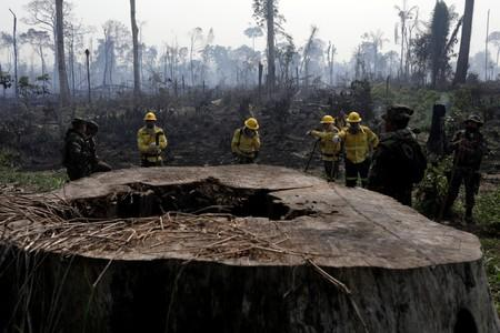 Brazilian firefighters and soldiers are pictured on a burning tract of the Amazon forest as it is cleared by farmers, in Rio Pardo