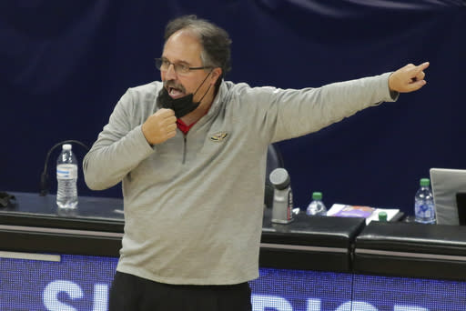 New Orleans Pelicans head coach Stan Van Gundy signals in the fourth quarter during an NBA basketball game against the Minnesota Timberwolves, Saturday, Jan. 23, 2021, in Minneapolis. (AP Photo/Andy Clayton-King)