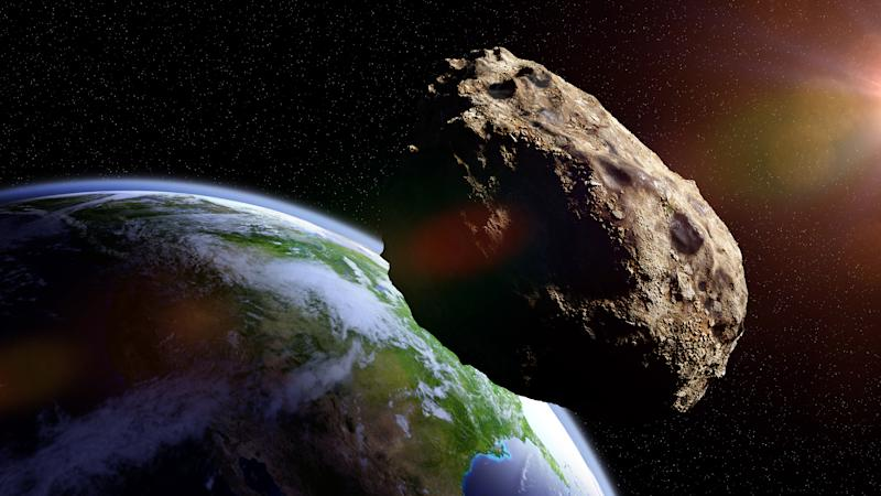 meteorite from outer space, falling toward planet Earth, dramatic science fiction scene