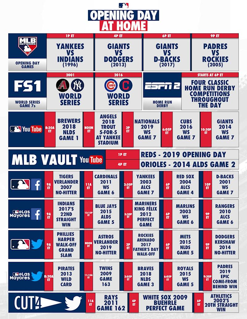 The full schedule of events. (Image via MLB)
