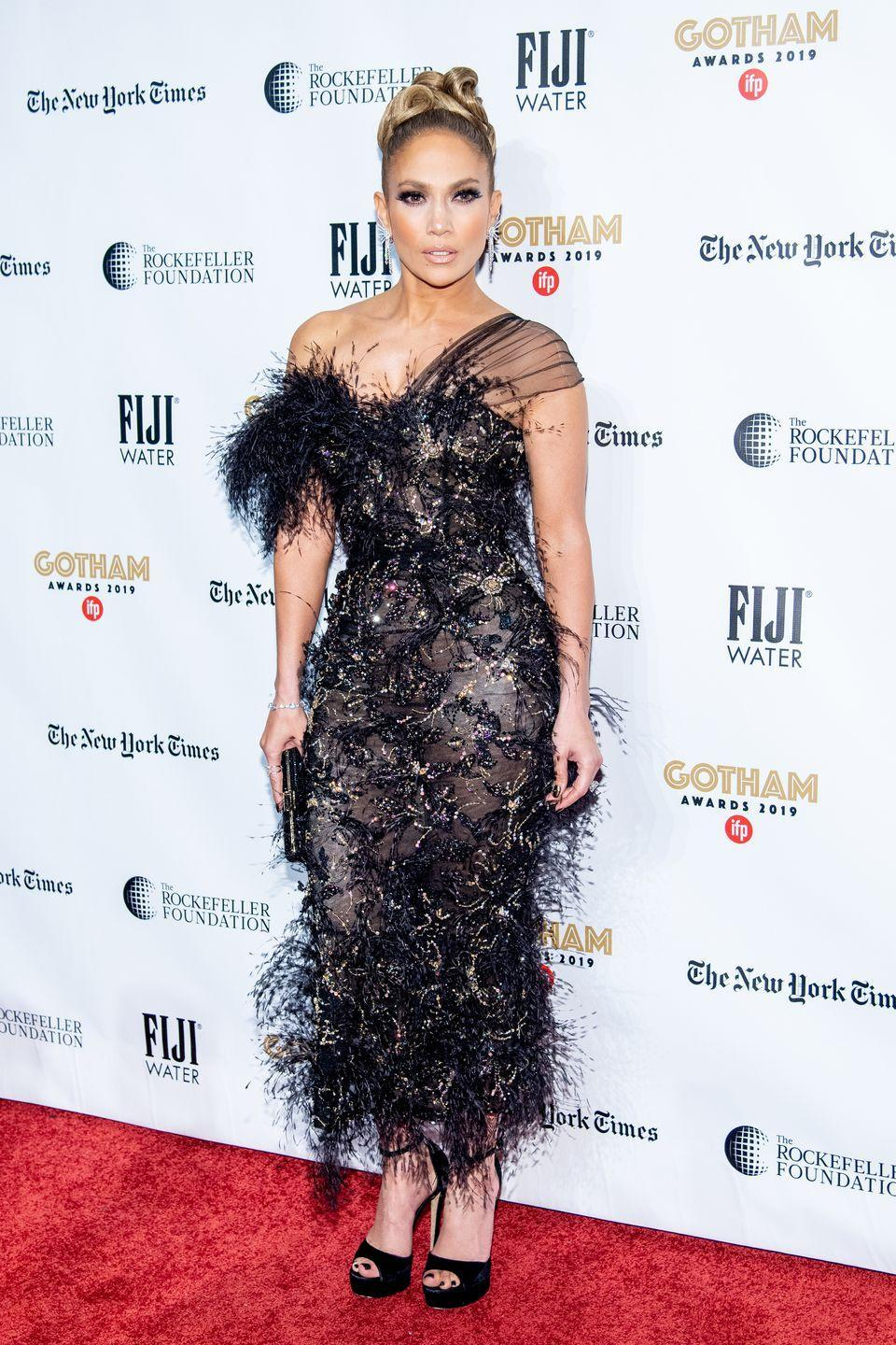 <p>The actress wore a feathered black asymmetric dress by Ralph & Russo to the awards show in New York.</p>
