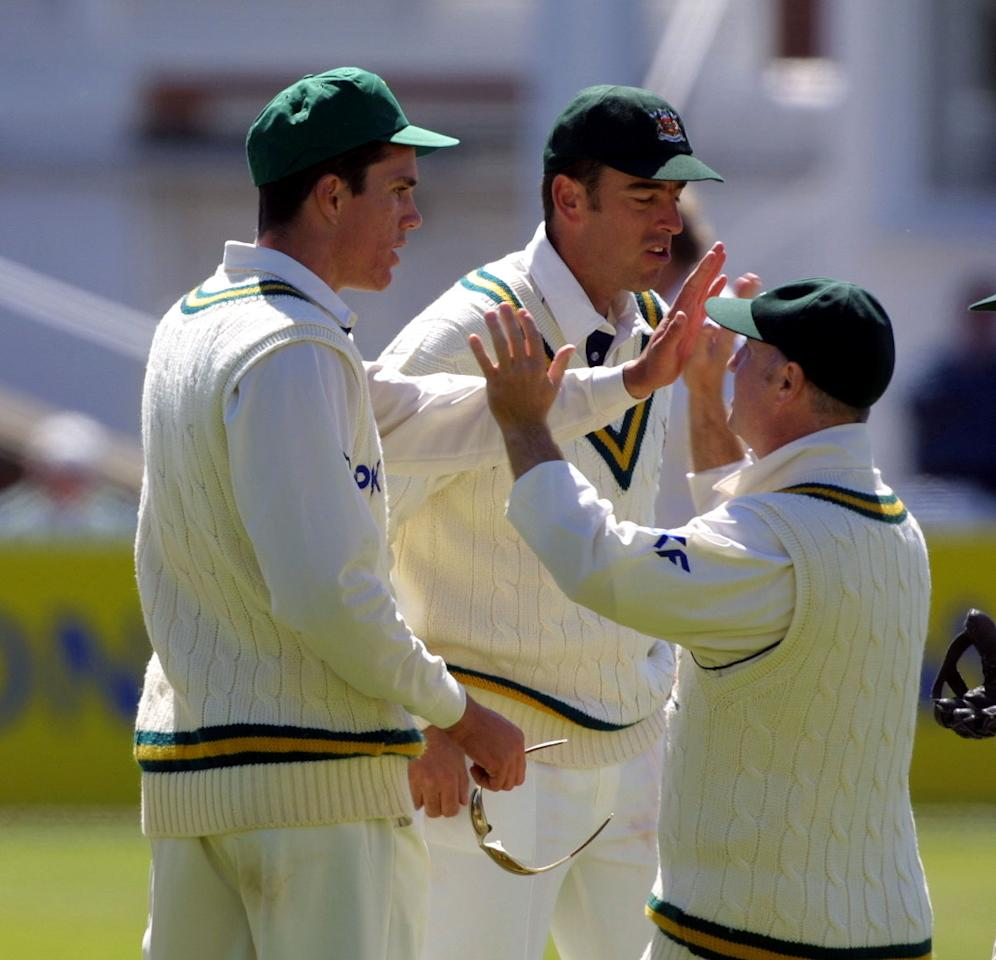 7 May 2001:  Kevin Pietersen of Nottinghamshire celebrates after dismissing Graham Lloyd of Lancashire for 27 in the Benson & Hedges Cup match at Trent Bridge. Notts won the match by seven wickets. Digital Image. Mandatory Credit: Mike Finn-Kelcey/ALLSPORT