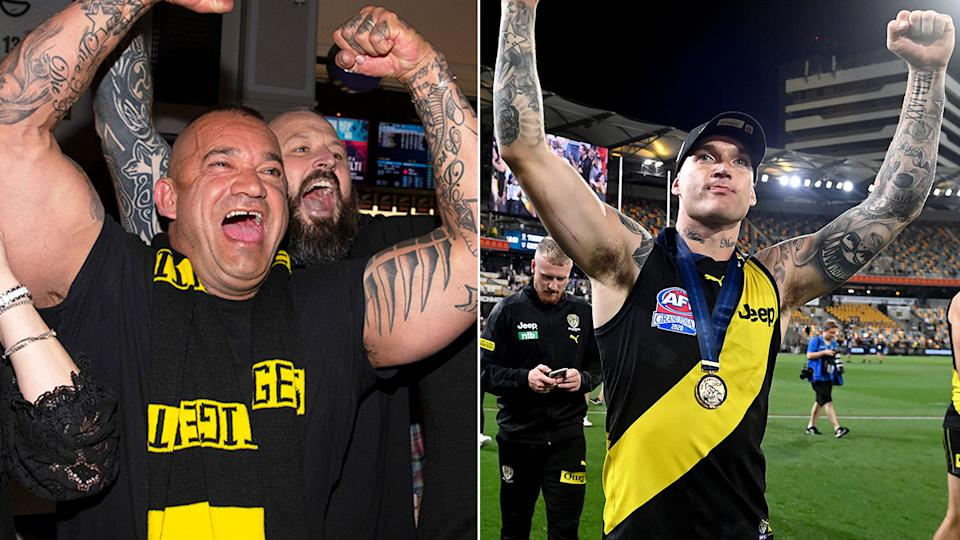 Pictured here, father and son Shane and Dustin Martin throw up their arms in celebration.