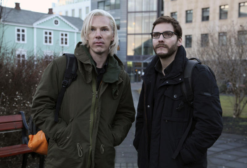 """FILE - This undated file photo provided by DreamWorks Studios shows Benedict Cumberbatch, as Julian Assange, left, with Daniel Bruhl, as Daniel Domscheit-Berg, in the WikiLeaks drama, """"The Fifth Estate."""" (AP Photo/ Frank Connor, File)"""