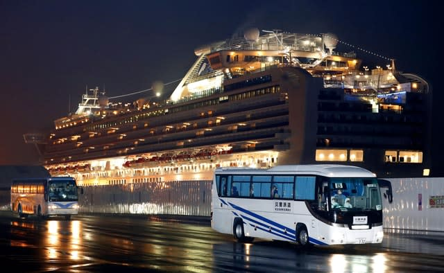 Buses carrying US passengers who were on board the Diamond Princess
