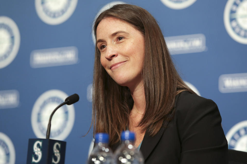Catie Griggs is introduced as the Seattle Mariners' new president of business operations during a baseball a press conference on Wednesday, July 28, 2021, (AP Photo/Jason Redmond)