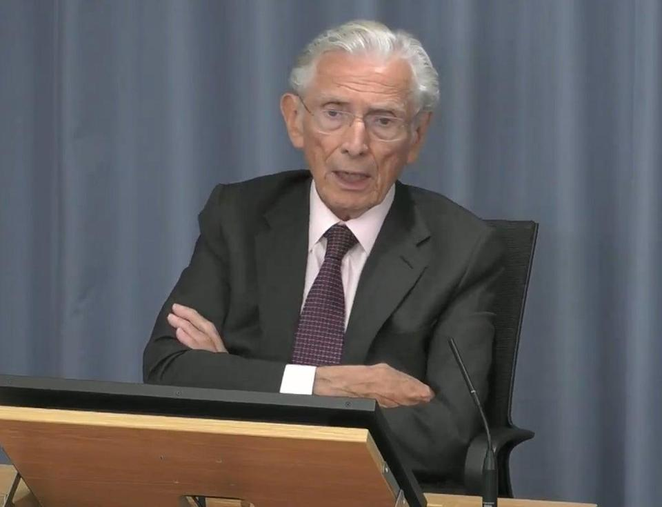 Lord Norman Fowler, who was the Secretary of State for Health and Social Security from 1981 to 1987, giving evidence at the Infected Blood Inquiry (Infected Blood Inquiry/PA) (PA Media)
