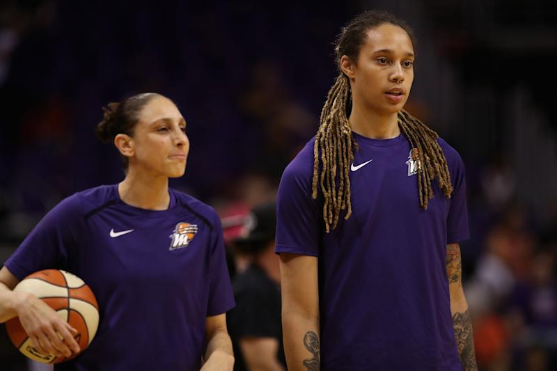 PHOENIX, AZ - JULY 05: Diana Taurasi #3 and Brittney Griner #42 of the Phoenix Mercury warm up before the WNBA game against the Connecticut Sun at Talking Stick Resort Arena on July 5, 2018 in Phoenix, Arizona. NOTE TO USER: User expressly acknowledges and agrees that, by downloading and or using this photograph, User is consenting to the terms and conditions of the Getty Images License Agreement. (Photo by Christian Petersen/Getty Images)