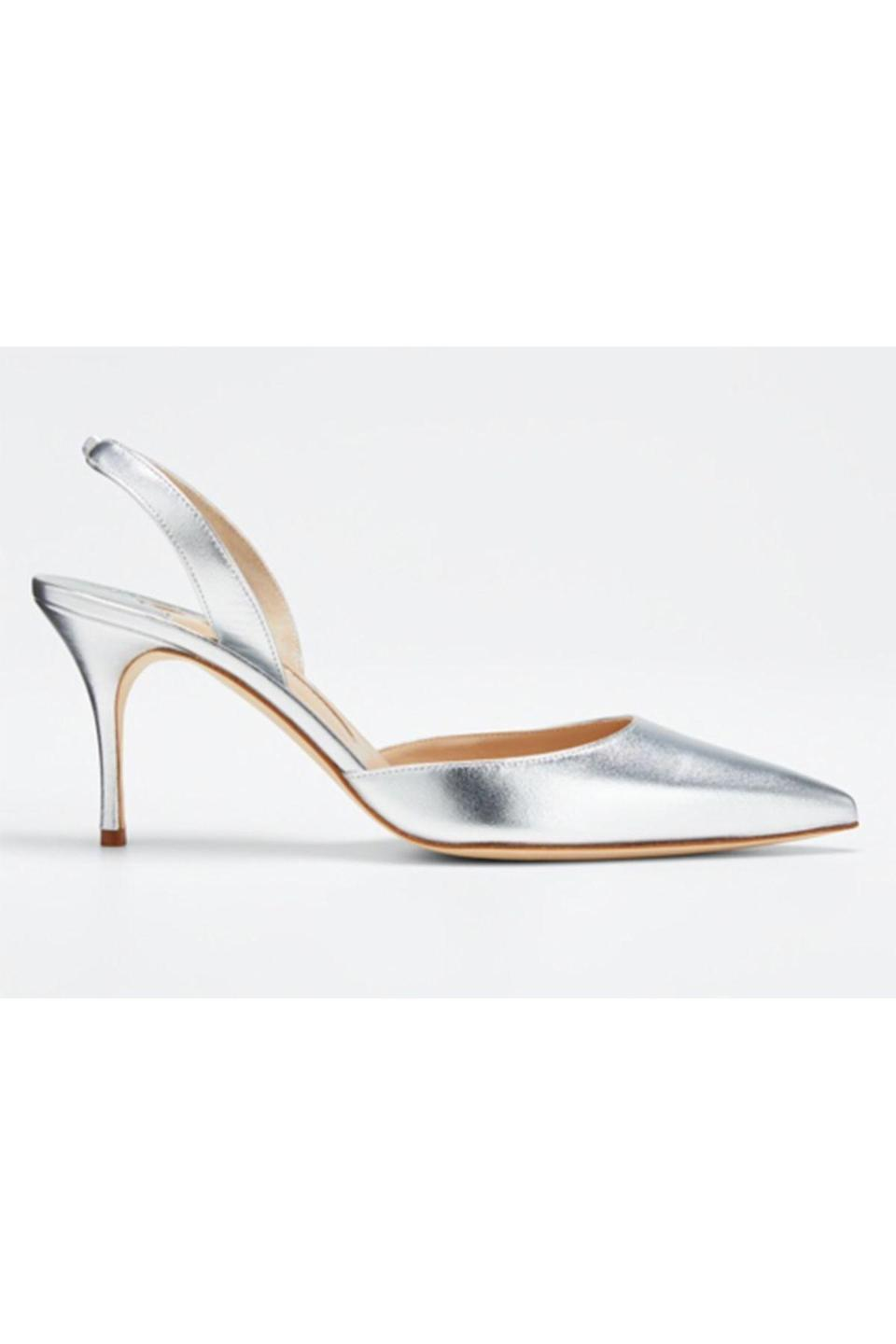 """<p><strong>Manolo Blahnik</strong></p><p>bergdorfgoodman.com</p><p><strong>$695.00</strong></p><p><a href=""""https://go.redirectingat.com?id=74968X1596630&url=https%3A%2F%2Fwww.bergdorfgoodman.com%2Fp%2Fmanolo-blahnik-carolyne-metallic-leather-mid-heel-slingback-pumps-prod146600012&sref=https%3A%2F%2Fwww.townandcountrymag.com%2Fstyle%2Ffashion-trends%2Fg36544376%2Fbest-metallic-accessories%2F"""" rel=""""nofollow noopener"""" target=""""_blank"""" data-ylk=""""slk:Shop Now"""" class=""""link rapid-noclick-resp"""">Shop Now</a></p><p> No matter how warm a summer evening might get, you'll look perfectly cool in these silver slingbacks. </p>"""