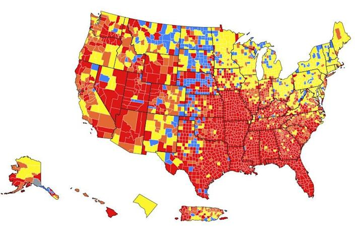 a map of the US from the CDC showing which counties have the highest transmission rates