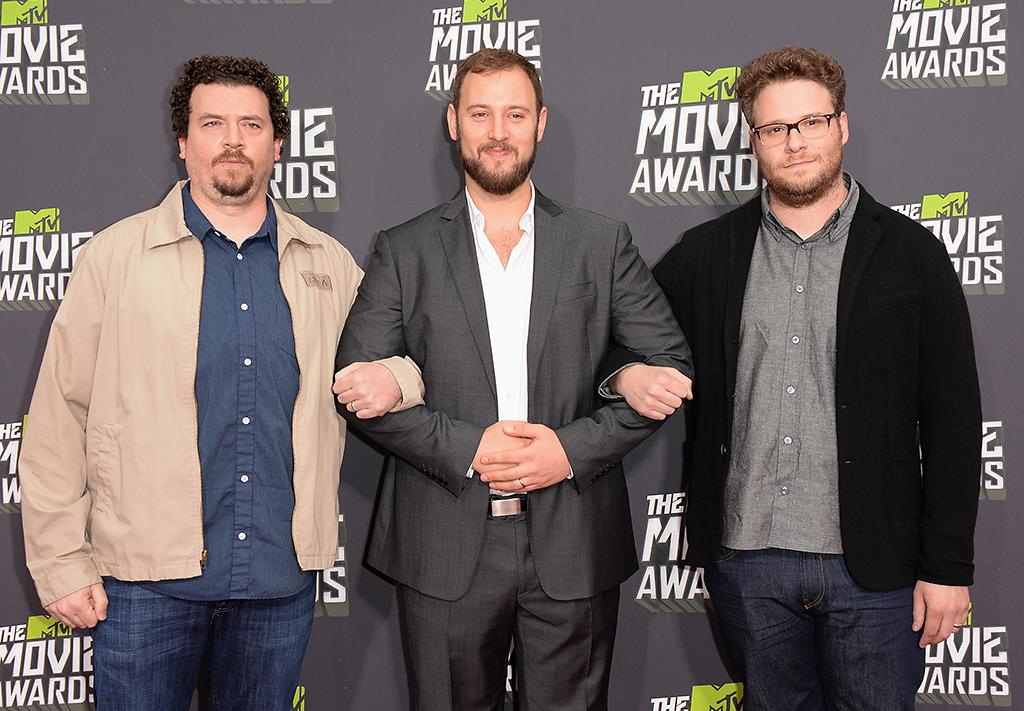 CULVER CITY, CA - APRIL 14:  (L-R) Actor Danny McBride, director Evan Goldberg and actor Seth Rogen arrive at the 2013 MTV Movie Awards at Sony Pictures Studios on April 14, 2013 in Culver City, California.  (Photo by Jason Merritt/Getty Images)