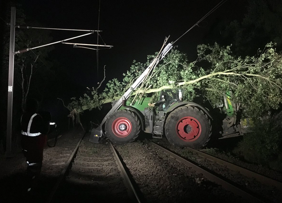 <em>A tractor caused chaos after damaging a rail line in Yorkshire (PA)</em>