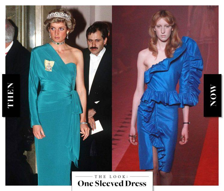 The One Sleeved Dress as seen on Princess Diana in the '80s, and at Gucci today. (Photo: Getty Images)