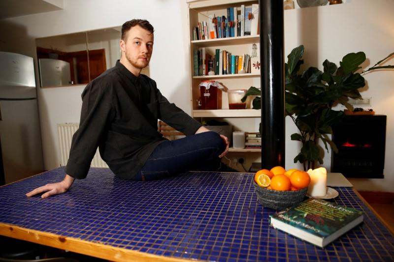 Irish chef Cuan Greene, 27, who lost his job at Dublin's Bastible restaurant after it closed its doors on Sunday amid the growing threat from the coronavirus disease (COVID-19), is seen in his house in Dublin