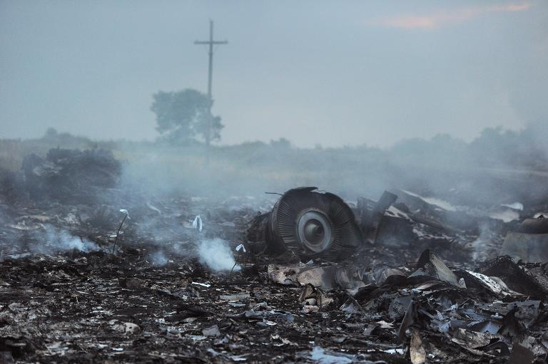 The wreckage of Malaysia Airlines Flight MH17 in the town of Shaktarsk, in rebel-held east Ukraine, pictured on July 17, 2014