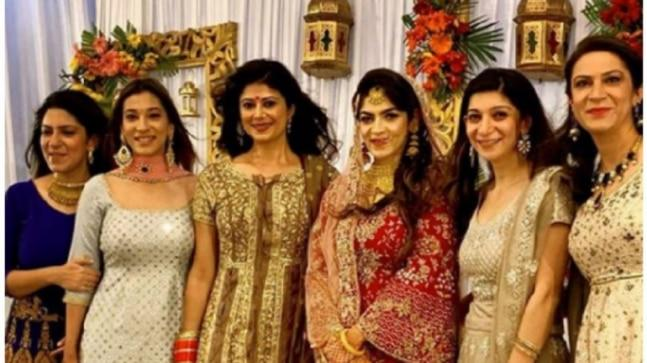 Pooja Batra shared a photo with her in-laws from a wedding function on Instagram.