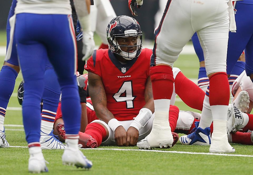 Deshaun Watson had a rough game against the Bills in 2018. (Photo by Bob Levey/Getty Images)