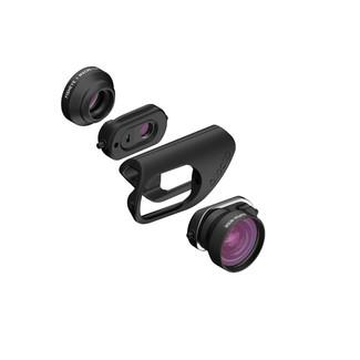 olloclip's newly designed mobile photography lens sets for iPhone 7 and 7 Plus feature new premium multi-element optics, the new Connect(TM) interchangeable lens system and an innovative hinged lens base keeping the lens flush with the camera for improved optical performance while allowing compatibility with most screen protectors. This new design delivers premium optics in the simplest, quickest and most versatile mobile lens system ever created. (PRNewsFoto/olloclip)
