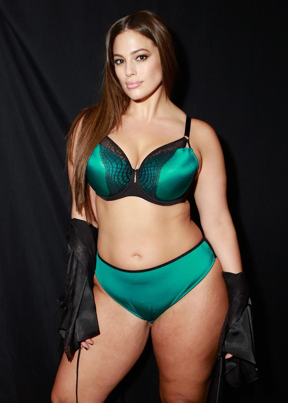 Ashley Graham poses in lingerie from her eponymous collection. (Photo: Getty Images)