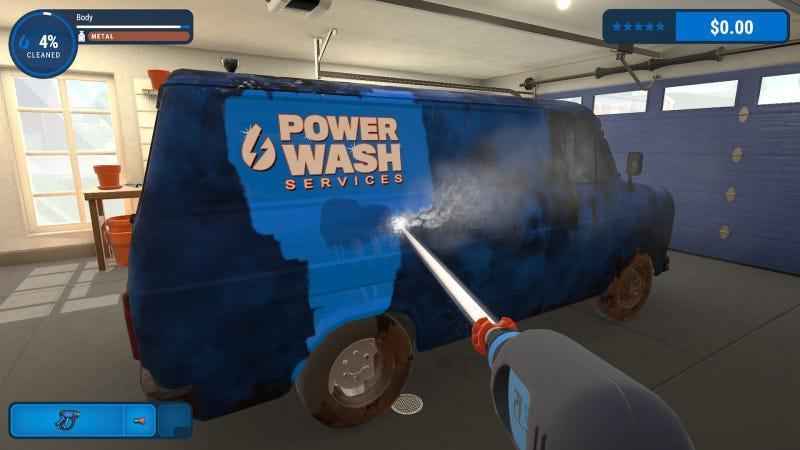 A screenshot from PowerWash Simulator depicting a very grimy van getting washed clean.