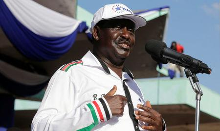 Kenyan opposition leader Raila Odinga of the National Super Alliance coalition addresses supporters after he was announced as the presidential candidate for the 2017 general elections during a rally at the Uhuru Park grounds, in Nairobi