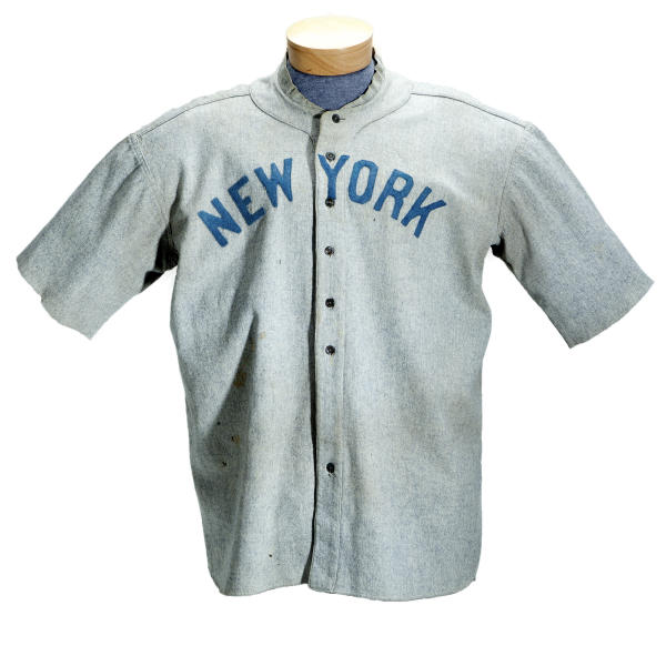 This undated photo provided by SCP Auctions shows a circa 1920 New York Yankees baseball jersey worn by Babe Ruth that sold for more than $4.4 million at auction, Sunday, May 20, 2012. SCP Auctions says the uniform top is the earliest known jersey worn by Ruth and set a record for any item of sports memorabilia. (AP Photo/SCP Auctions)