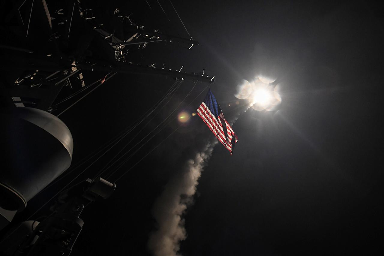 <p>U.S. Navy guided-missile destroyer USS Porter (DDG 78) conducts strike operations while in the Mediterranean Sea which U.S. Defense Department said was a part of cruise missile strike against Syria on April 7, 2017. (Photo: Ford Williams/Courtesy U.S. Navy/Reuters) </p>