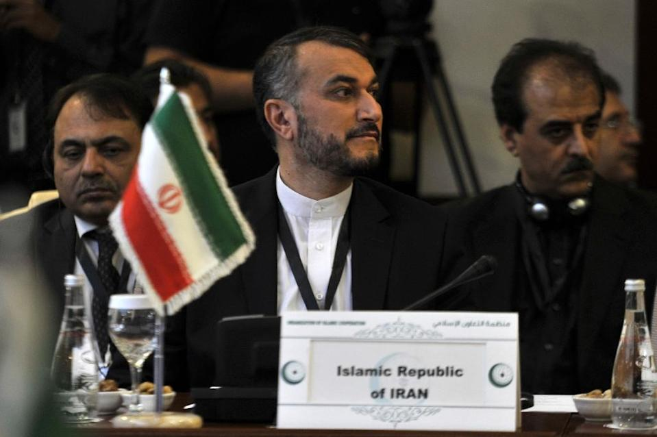 """Iranian Deputy Foreign Minister Hossein Amir-Abdollahian, pictured at a June 16, 2015 meeting in Saudi Arabia, tells the Guardian that Syria's Bashar al-Assad is """"important"""" to his country's national unity, but that Syria's voters have final say (AFP Photo/)"""