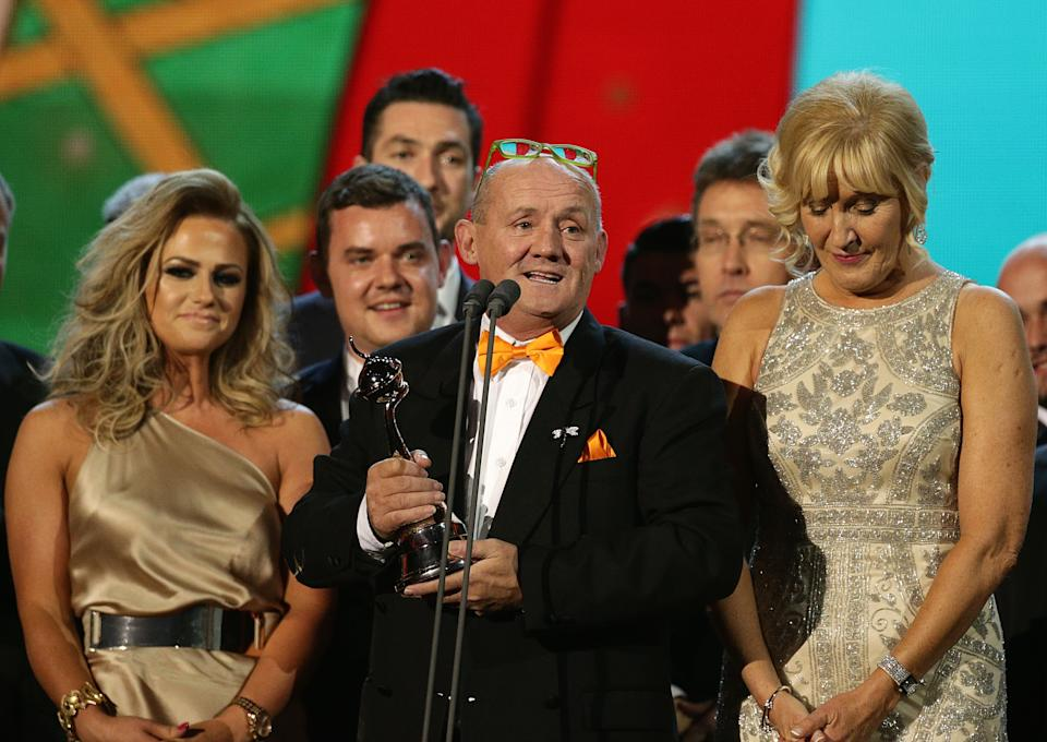 Brendan O'Caroll accepts the award for Best Comedy for Mrs Browns Boys during the 2015 National Television Awards at the O2 Arena, London.