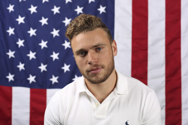 U.S. freestyle skier Gus Kenworthy poses for a portrait at the Team USA Winter Olympics media summit. (AP)
