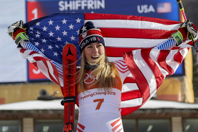 Mikaela Shiffrin celebrates her gold medal in the giant slalom on Thursday in Pyeongchang, South Korea. (AP)