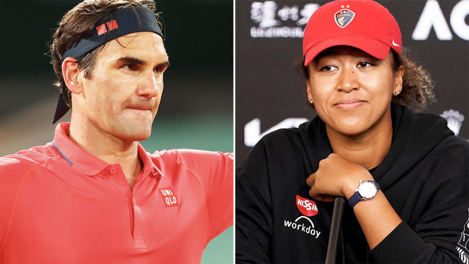 Roger Federer and Naomi Osaka, pictured here at the French Open.