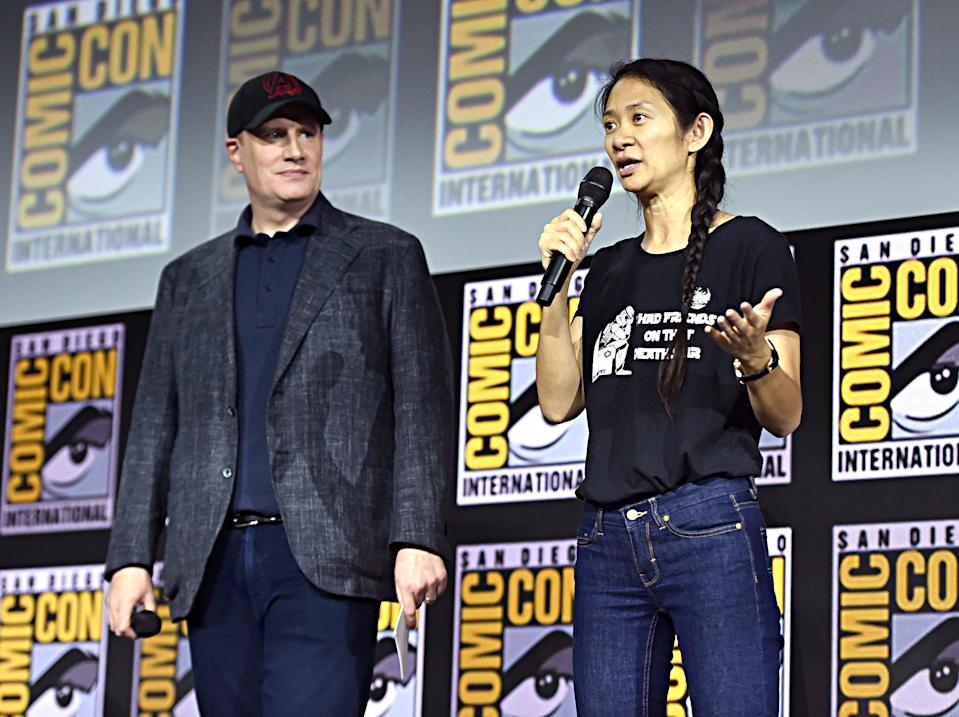 President of Marvel Studios Kevin Feige and director Chloe Zhao of 'The Eternals' at San Diego Comic-Con International 2019. (Photo by Alberto E. Rodriguez/Getty Images for Disney)