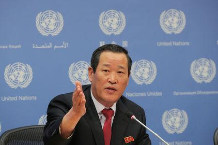 North Korea U.N. Ambassador Kim Song speaks during a news conference at U.N. headquarters in New York