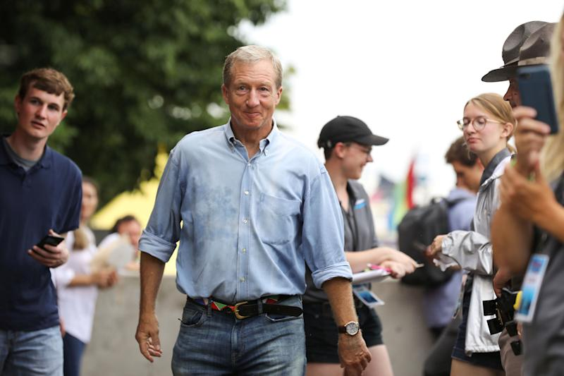 2020 Democratic U.S. presidential candidate, businessman, and political donor Tom Steyer speaks at the Iowa State Fair in Des Moines, Iowa, U.S., August 11, 2019. REUTERS/Scott Morgan