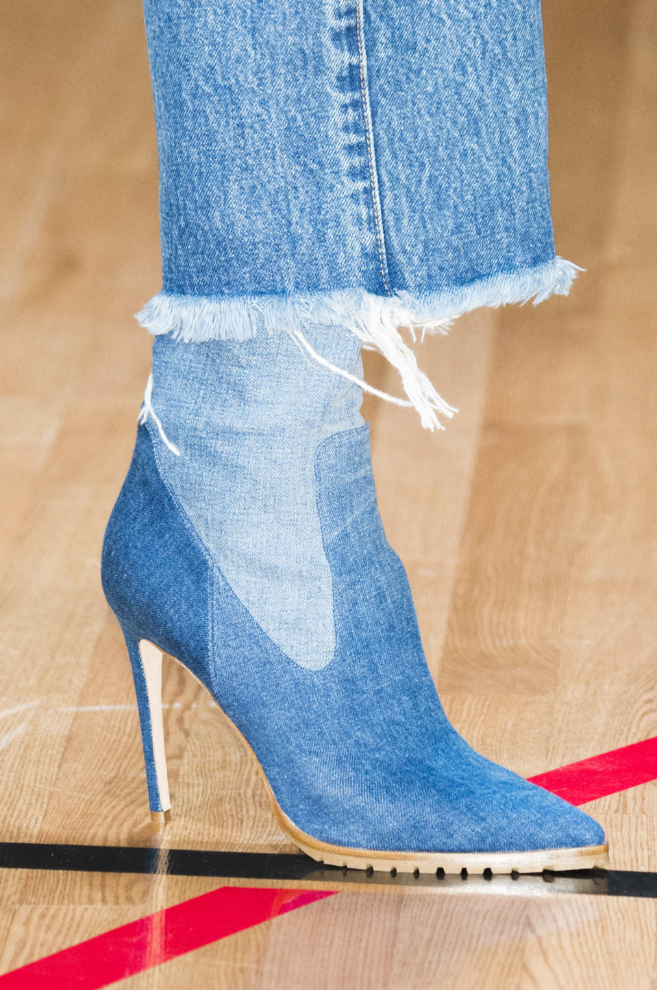 <p><i>Denim high-heel Chelsea boots from the SS18 Monse collection. (Photo: ImaxTree) </i></p>