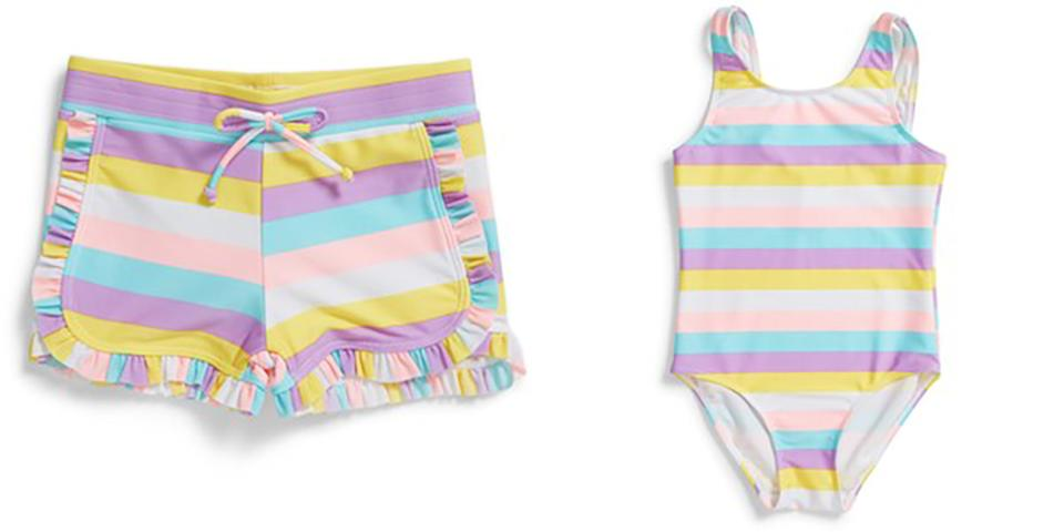 The new range of swimwear made entirely of recycled polyester, a material that is known as REPREVE. Photo: Big W
