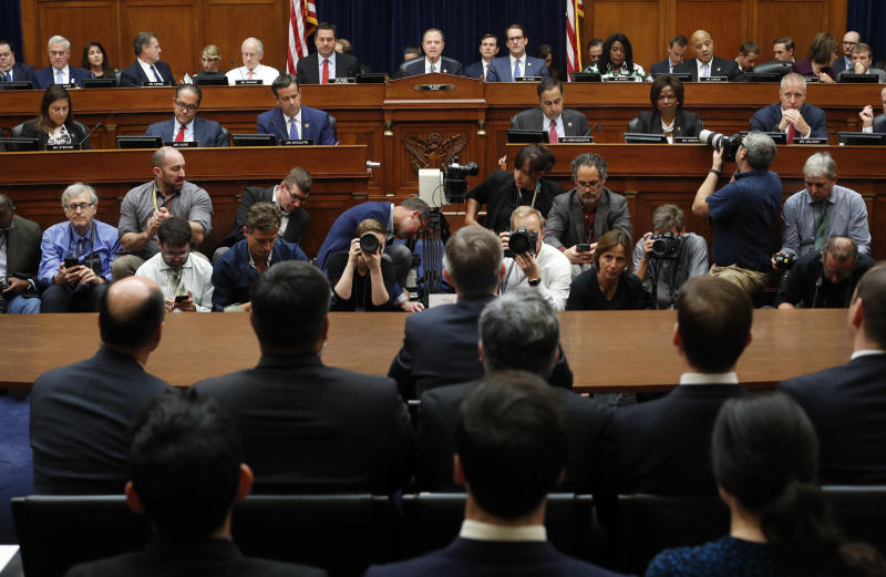 Chairman Rep. Adam Schiff, D-Calif., center, makes an opening statement before questioning Acting Director of National Intelligence Joseph Maguire before the House Intelligence Committee on Capitol Hill in Washington, Thursday, Sept. 26, 2019. (AP Photo/Pablo Martinez Monsivais)