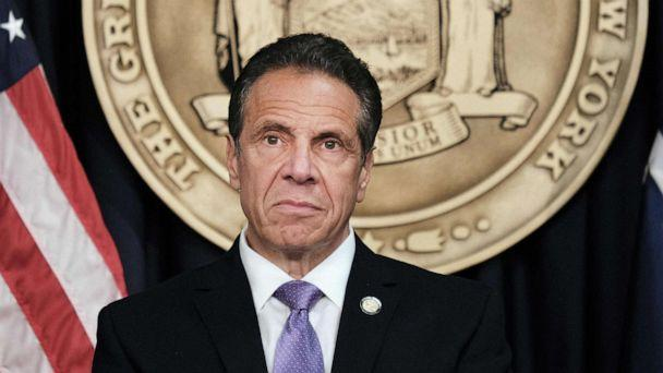 PHOTO: Governor Andrew Cuomo speaks to the media at a news conference in Manhattan on May 5, 2021, in New York. (Spencer Platt/Getty Images, FILE)