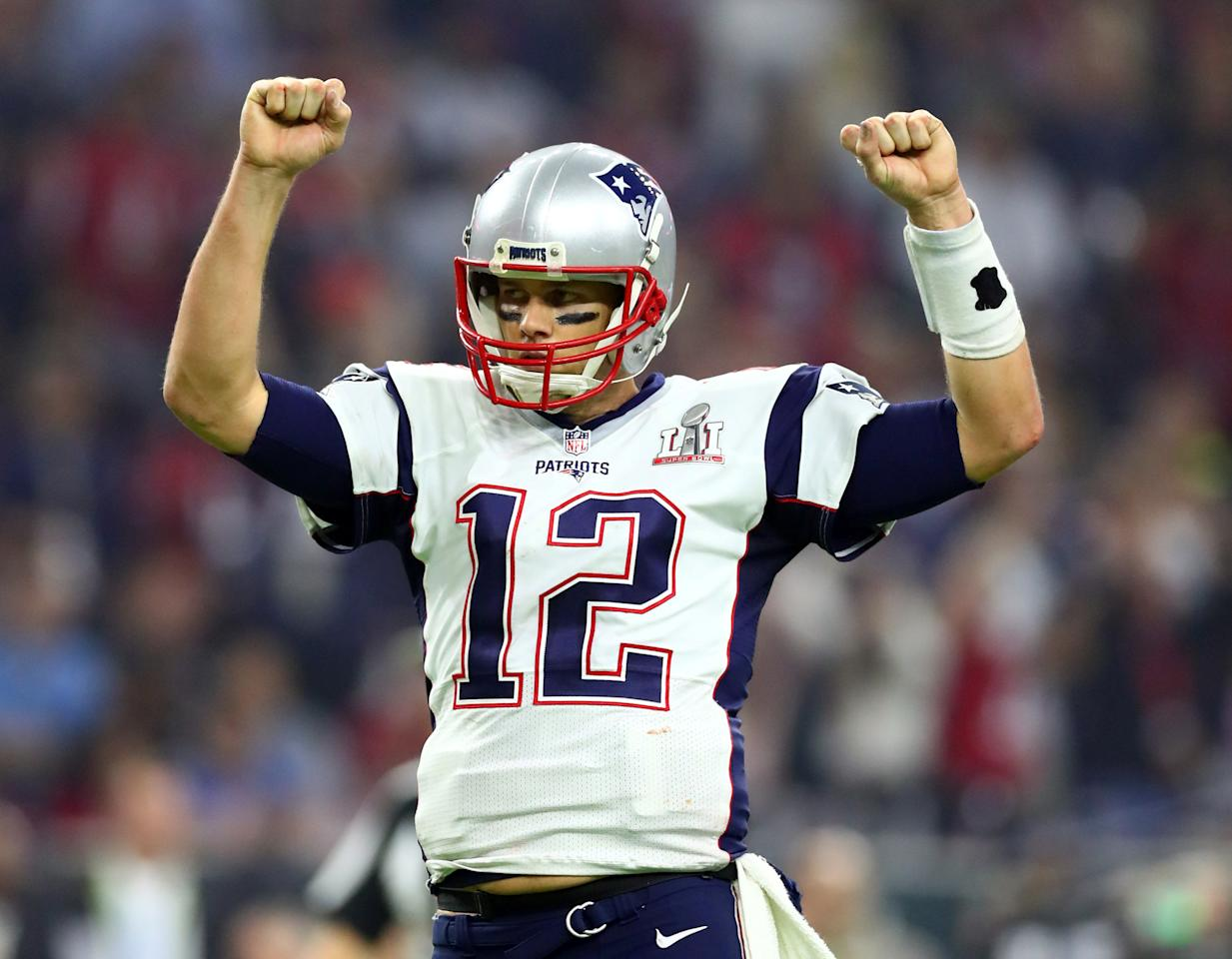 FILE PHOTO: New England Patriots quarterback Tom Brady  celebrates a two-point conversion against the Atlanta Falcons in the fourth quarter during Super Bowl LI in Houston, Texas, U.S., February 5, 2017.  Mandatory Credit: Mark J. Rebilas-USA TODAY Sports/File Photo