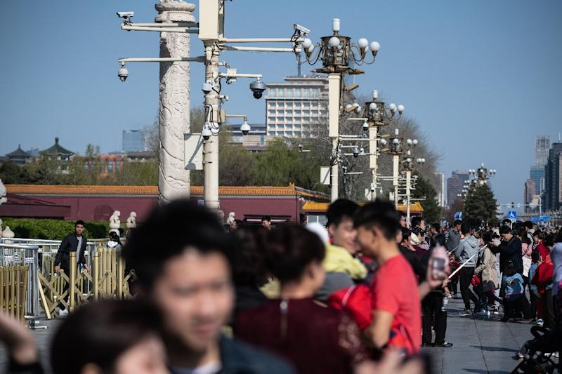 China had about176 millionvideo surveillance cameras in2016, a figure that is expected to reach 2.76 billion by 2022 (AFP Photo/STR)