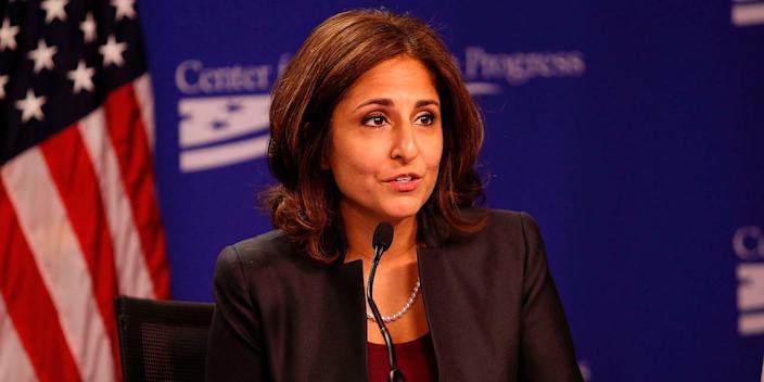 """CAP President Neera Tanden moderates the """"Why Women's Economic Security Matters For All"""" panel discussion at The Center For American Progress on September 18, 2014 in Washington, DC."""