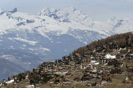 Chalets are pictured in the Alpine ski resort of Veysonnaz near Sion