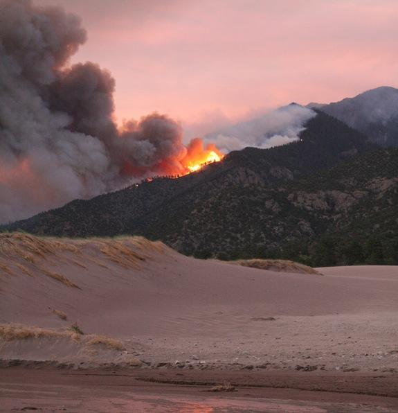 The Medano Fire in Great Sand Dunes National Park in Colorado, seen on June 23, 2010.