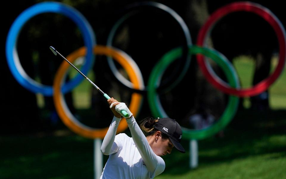 Lydia Ko, of New Zealand, hits a tee shot on the 16th hole during the third round. - AP Photo/Matt York