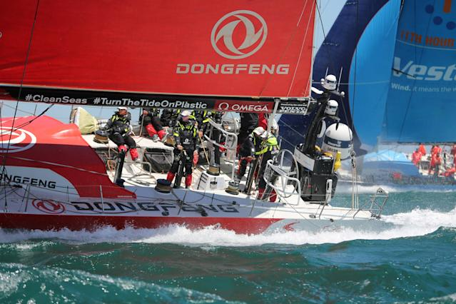 Sailing - Volvo Ocean Race - Third Leg - Cape Town, South Africa - December 10, 2017. Team Dongfeng sails. REUTERS/Sumaya Hisham