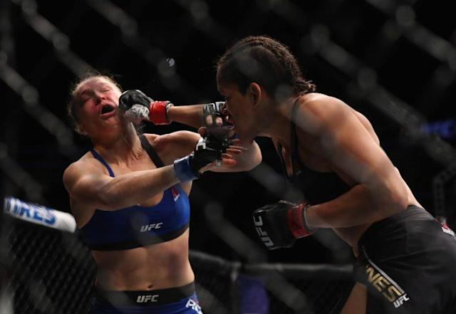 Amanda Nunes finished off Ronda Rousey in just 48 seconds on Friday. (Getty)